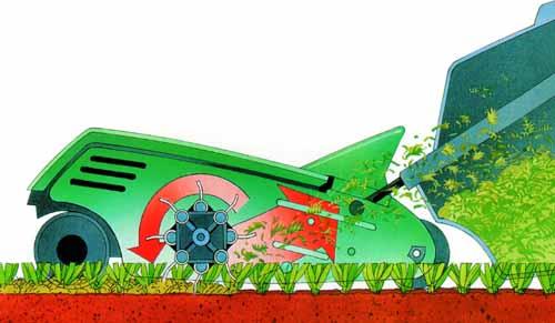 A forgó szellozteto egység acél rugói a nemkívánatos idegen füveket és mohákat feltépik a fuszálak tövei közül, és bedobják a gyujtokosárba, amelyben egy bovdenes tömöríto mechanizmus a begyujtött növényrészeket az eredeti térfogatuk 30%-ára suríti össze