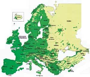 A sötétzöld területen működik a GSM-rendszer! A nagyításhoz KLIKK ide!