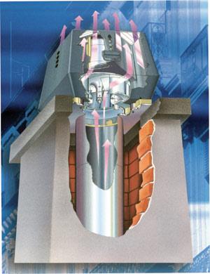 Mechanikus füstgázelvezetés füstgázventilátor segítségével (Exhausto)