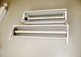 Acél-, és alumíniumlemezből készült redőnytokok műanyag illetve acéllemez redőnytengellyel