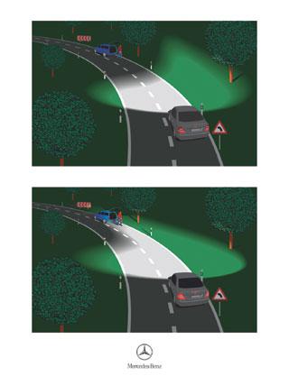 A kormánnyal vezérelt fényszóró jobban bevilágítja a kanyart