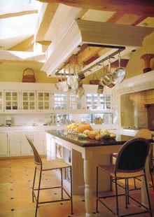 Nagy alapterületű konyha szigetes része, mint étkező