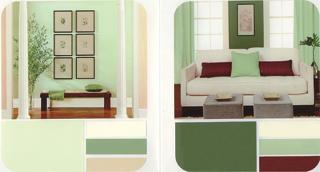 Többféle zölddel, sötét és világos kontrasztokkal derűs, barátságos légkör teremthető