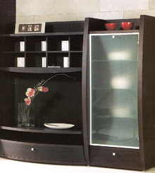 Egyszerű, elemes nappali ülőbútor, alukeretes, opál üvegajtóval