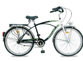 Városi kerékpár lámpával, sárvédővel, csomagtartóval