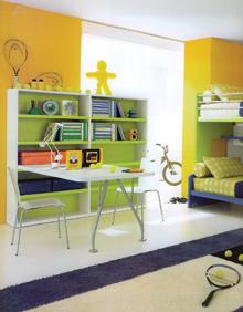 Közös tanuló- és közös alvóhely; kizárólag nagy összhangban élő testvérek részére. Ilyen berendezés esetén másik fal mentén még a harmadik testvérnek is jut hely.