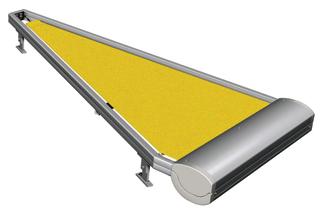 A kúpos tetőkre elemenként csatlakoztathatók a motoros meghajtású külső árnyékolók