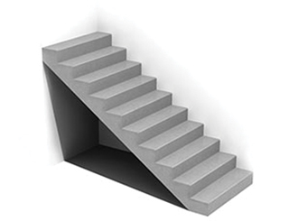 Egyenes karú, előre gyártott lépcső