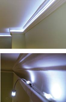A különleges sztirol idomok a mennyezetvilágítások kialakítását könnyítik meg